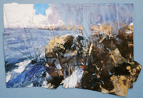 Sea and Sky and Rain coming (St Davids Head) mixed on paper 54cm x44cm 2014