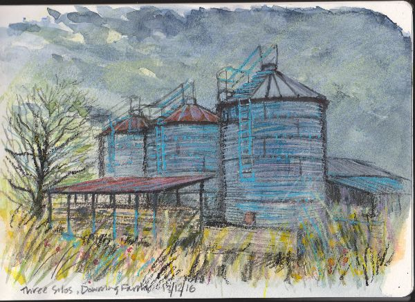 Silos, watercolour and oil pastel in moleskine sketchbook (2)