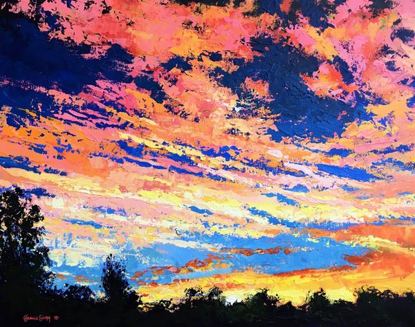 "Sunset over Gutterbridge Woods, acrylics on canvas, 20""x16"""