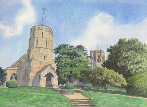 Swaffham Prior Churches, Watercolours on paper, 12x9