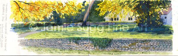 Tissington Village Sketch, watercolour in moleskine sketchbook