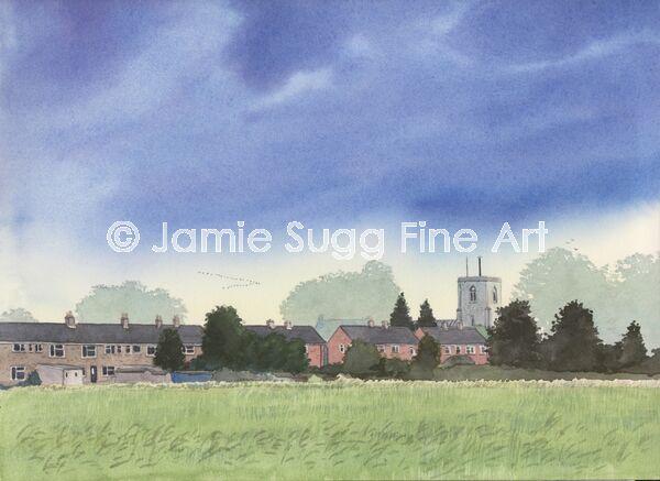 Towards St Marys Church, Swaffham Bulbeck, 297mm x 210mm