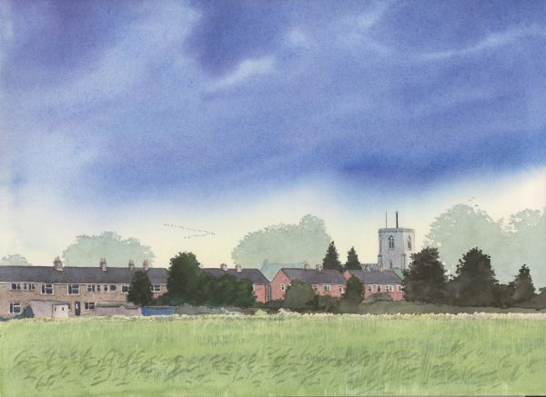 Towards St Marys Church, Swaffham Bulbeck, Watercolours on paper, 12x9