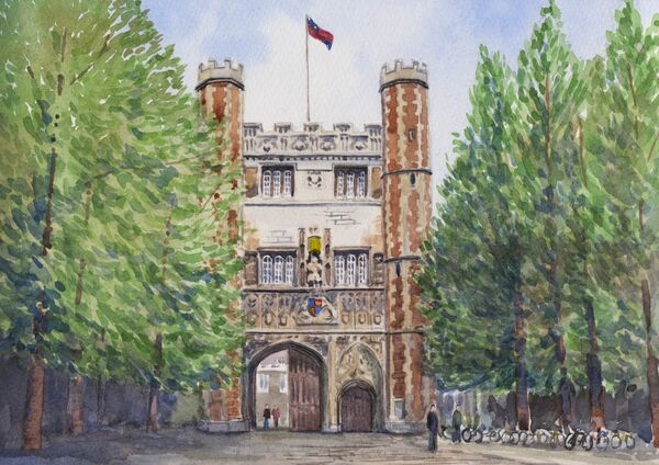 Trinity College, watercolour on paper, A4 size