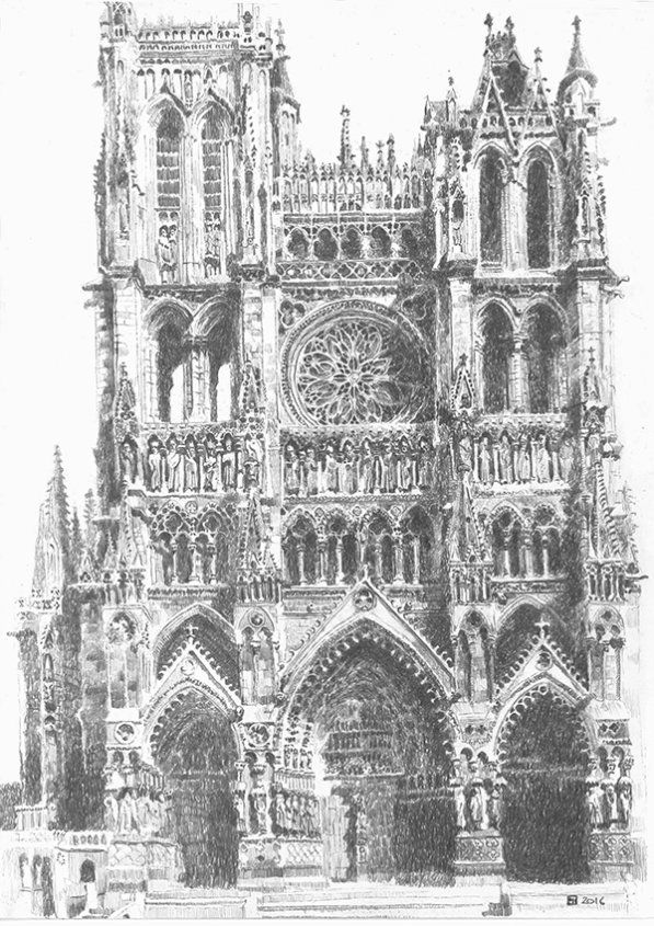 Drawing of Amiens Cathedral