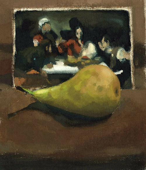 Postcard of Caravaggio's Supper at Emmaus with Pear