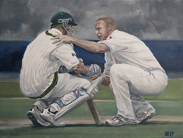 Flintoff and Lee, Edgbaston, 2005 Ashes Test