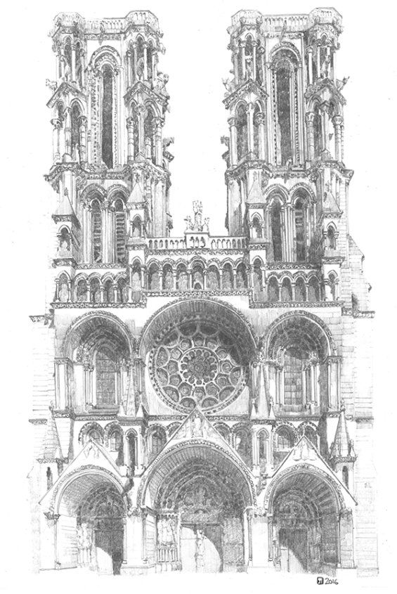 Drawing of Laon Cathedral