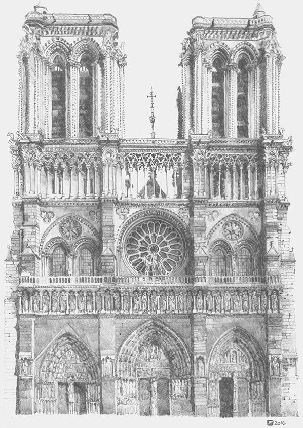 Drawing of Notre Dame Cathedral