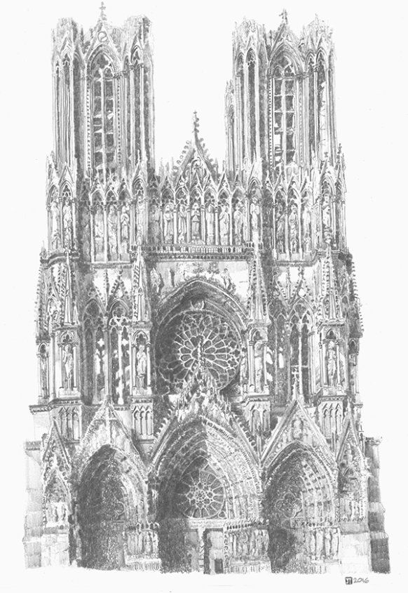 Drawing of Reims Cathedral