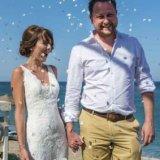 Confetti next to the Mediterranean Sea
