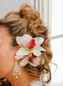 Closeup of Brides Hair with flowers