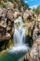 Waterfall with water blurred