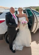 Hannah and her Dad arriving at wedding