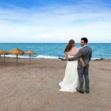 Bride and Groom next to the Mediterranean Sea at Mojacar