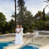 Bride and Groom at the pool side