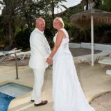 Bride and Groom next to the pool in Mojacar