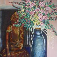 Buddha and Flowers Print