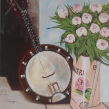Banjo and Flowers Print