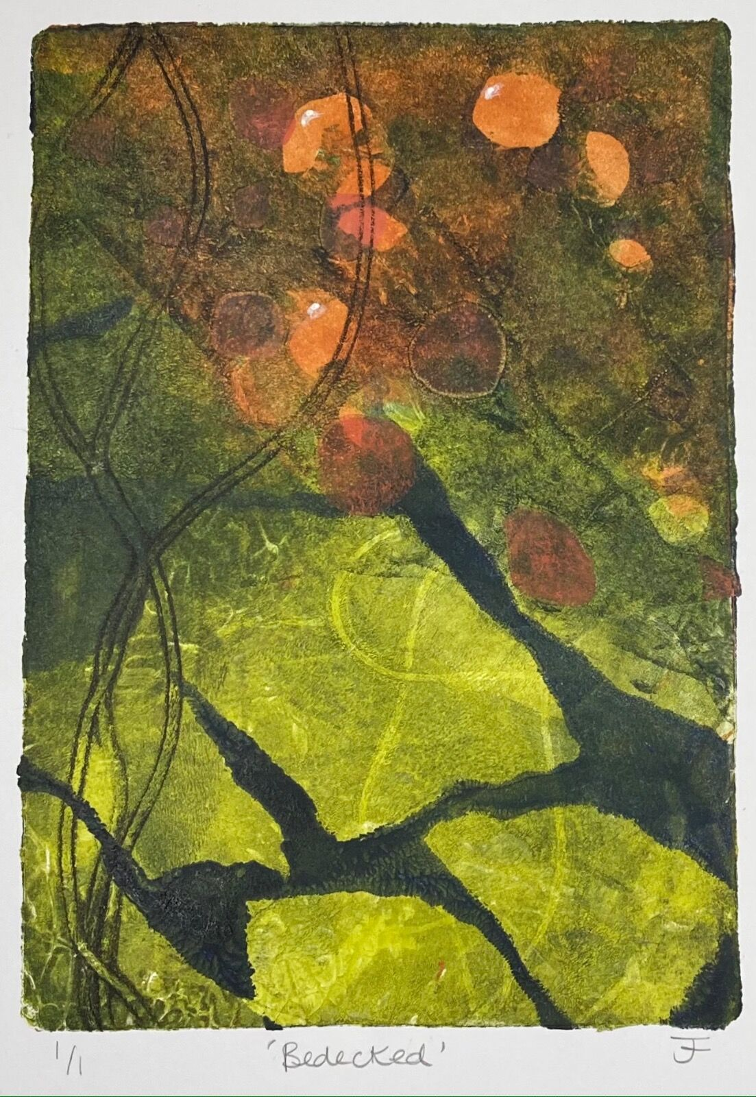 Abstracted monotype of red berries and black stems against green leafy shapes