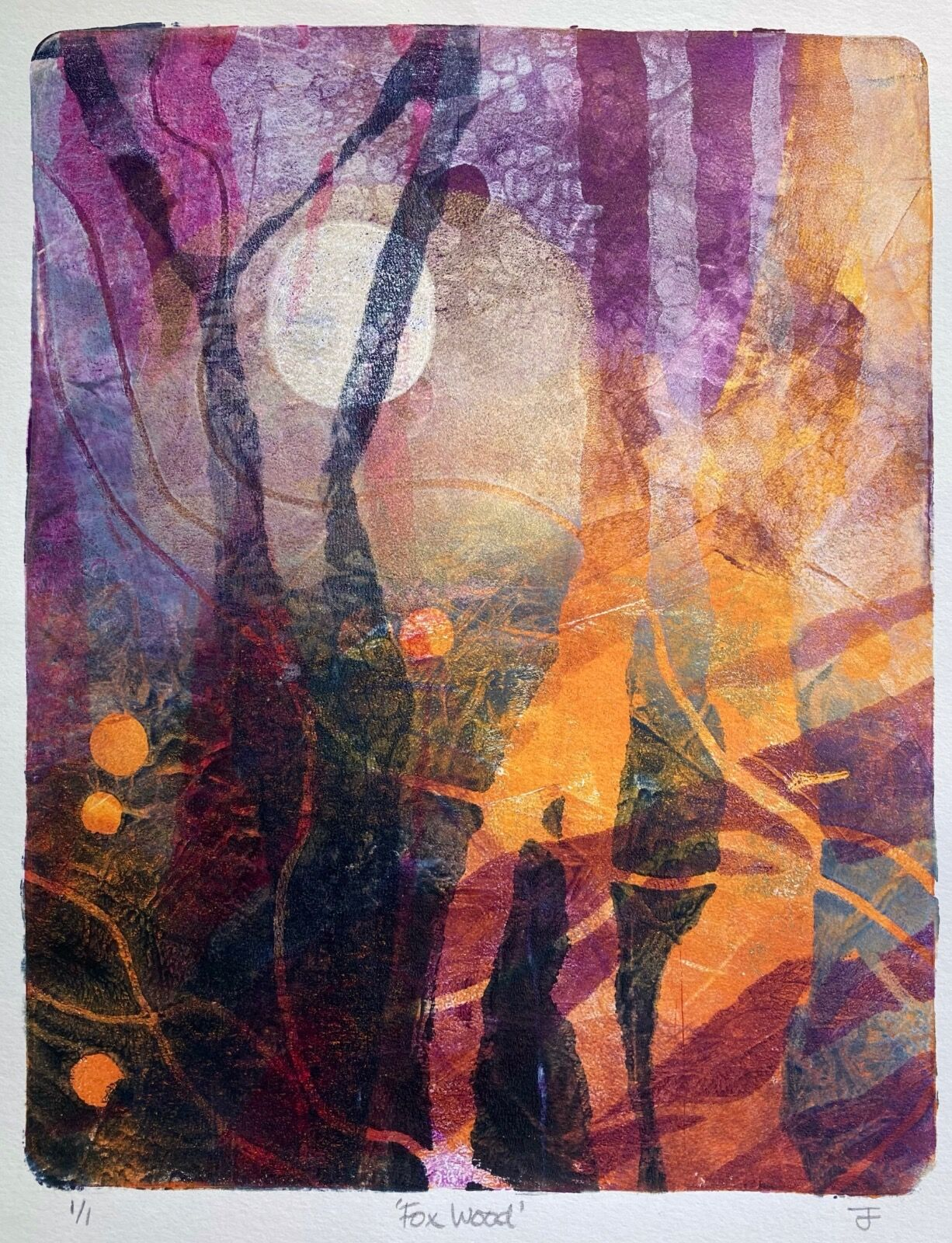 Monotype print of a mysterious purple and gold woodland at night with a moon shining through the trees