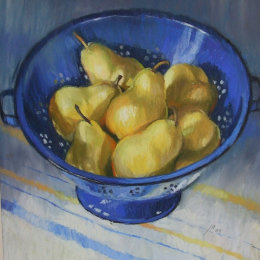Blue Colander with Pears 1
