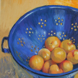 Blue Colander with Plums
