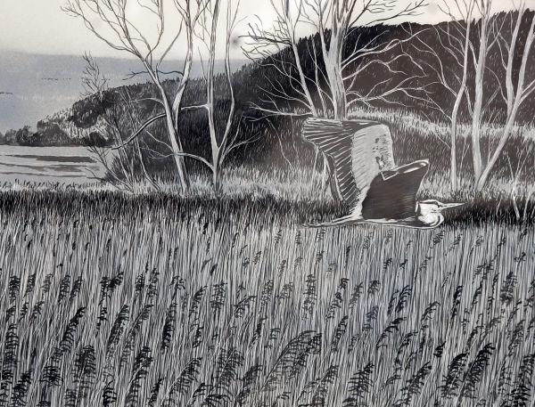 heron over reeds