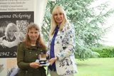 receiving my Bronze award from Anna Louise Pickering at TWASI for my Green Sea Turtle scraperboard picture 2019