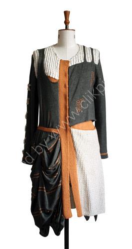 Designer hand and machine knitted coat inspired by Charles Rennie Mackintosh