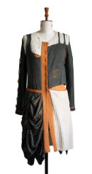 Designer hand and machine knitted coat inspired by Charles Rennie Mackintosh