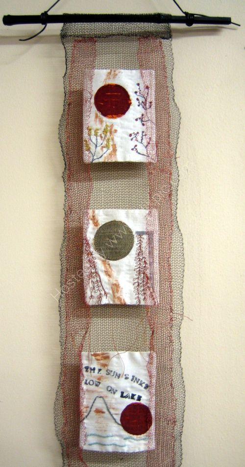 """Close up of  """"Wabi Sabi 1"""" wall hanging"""