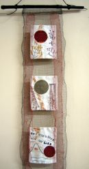 "Close up of  ""Wabi Sabi 1"" wall hanging"