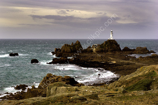 A day time photograph of Corbiere Lighthouse