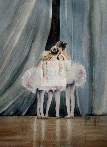 ballet, little girls, cute, ballerina, school, tutu, watercolour, print, giclée, art