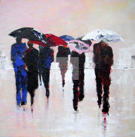 Raining, acrylic on canvas, original artwork, award winning artist, semi abstract, contemporary paintings, umbrellas, pink and blues, square deep frame
