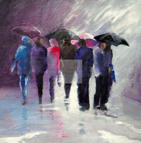Square deep canvas, original artwork, paintings, award winning artist, semi abstract, impressionistic, rain, reflecting, people gathering, acrylic on canvas, original paintings,