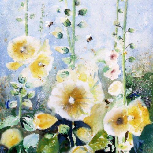 hollyhocks, birthday card, for mum, mother, friend, flower card, fine art card, happy birthday, floral greeting, beautiful, watercolor card, blue, yellow