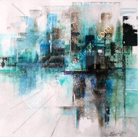 semi abstract, city, London, watercolour, cityscape, contemporary