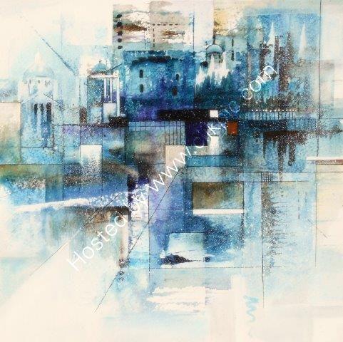 cityscape, city, London, watercolour, contemporary