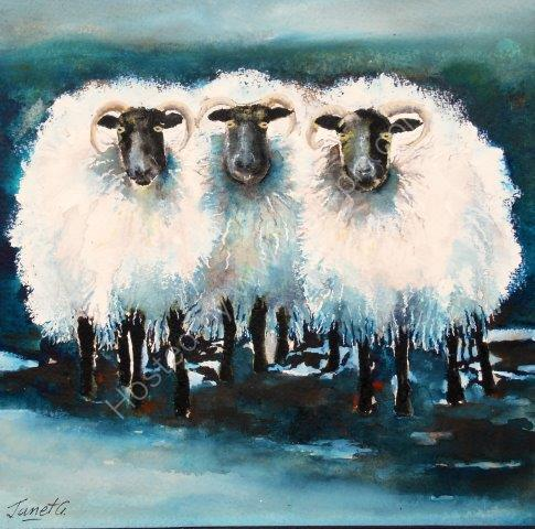 woolly, sheep, farmyard, animal, contemporary art, watercolour, painting, cute, farm scene, animals