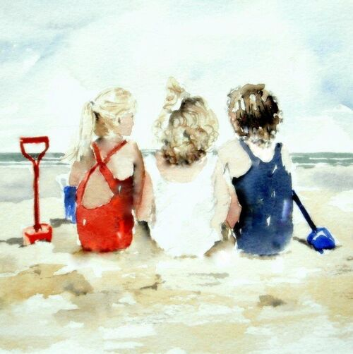 children, beach, card for her, female, mother, mum, sister, daughter, wife, happy birthday, thank you, greetings, love, friendship, fine art, cute, for sale, buy, blank inside, large, square, quality, childrens birthday, beautiful