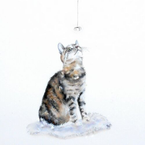 tabby cat, cat lovers card, happy birthday, best friend, watercolor card, large, thick, for her, cute, pet, pretty, for sister, wife