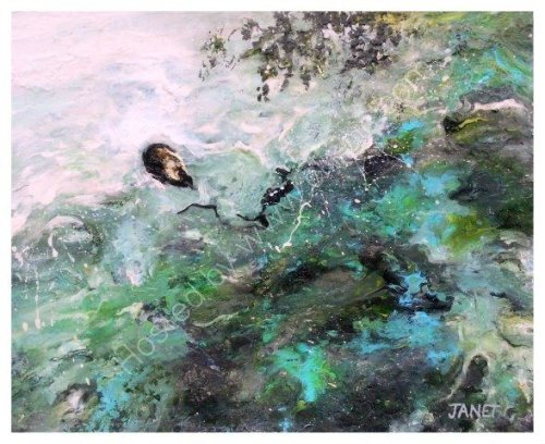 impressionist, textural, landscape, seascape, ocean, art, contemporary, shell, rock pool