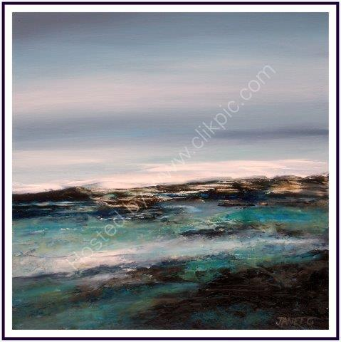 impressionist, textural, landscape, seascape, turquoise and blues, small framed paintings, ocean, art, contemporary