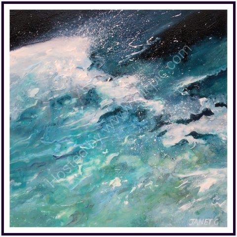 impressionist, textural, landscape, seascape, Turquoise and greens, dramatic coastline, waves, ocean, art, contemporary
