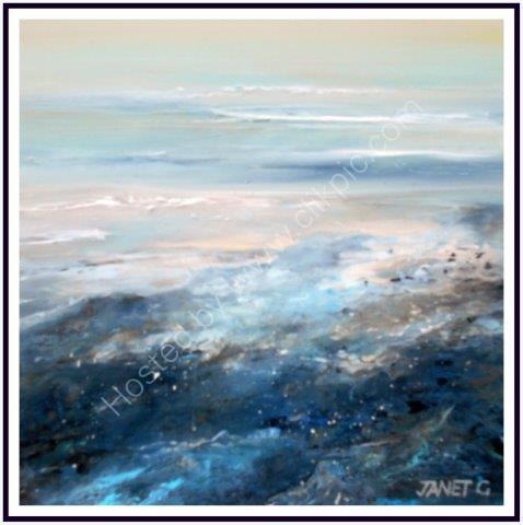 impressionist, textural, landscape, seascape, ocean, art, contemporary, subtle colours, square framed paintings, original artwork