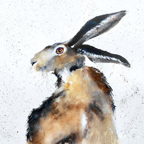 Hare Card, Happy Birthday, Happy Easter, Card for Mothers Day, Thank you card, watercolor, art card,