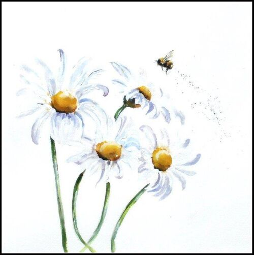 Bee, contemporary birthday card, blank inside, flowers, for her, wife, daughter, sister, mum, mother, large, quality, greetings card, fine art, watercolor, square, large, for sale, buy, get well, friend, best wishes, thank you, beautiful, cute,