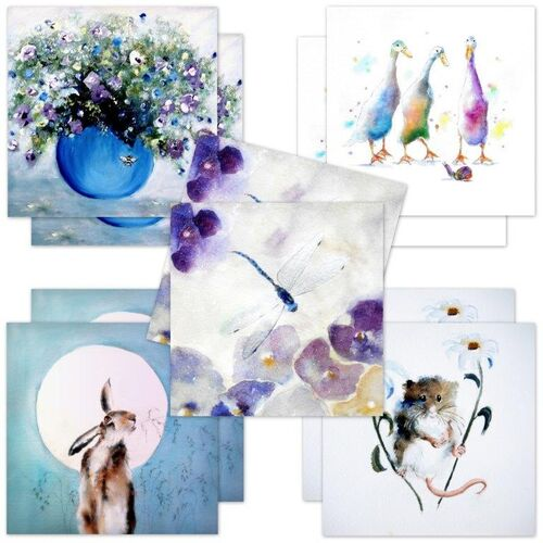 greeting cards, birthday cards, mouse, floral, hare, flowers, thank you, notelet, for her, female, wife, partner, multi pack, multipurpose, set, collection, fine art, cute